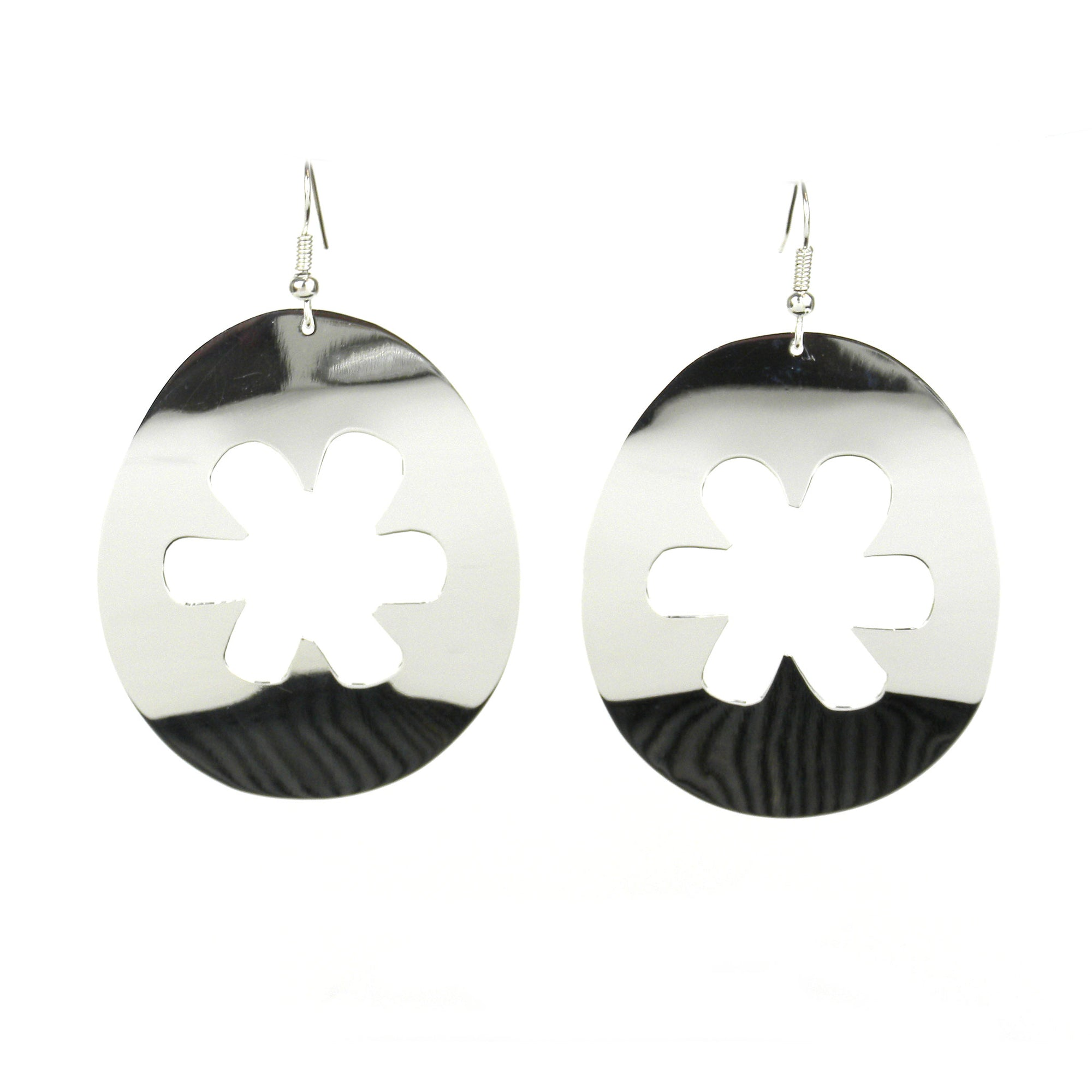 Large Silver-plated Flower Earrings