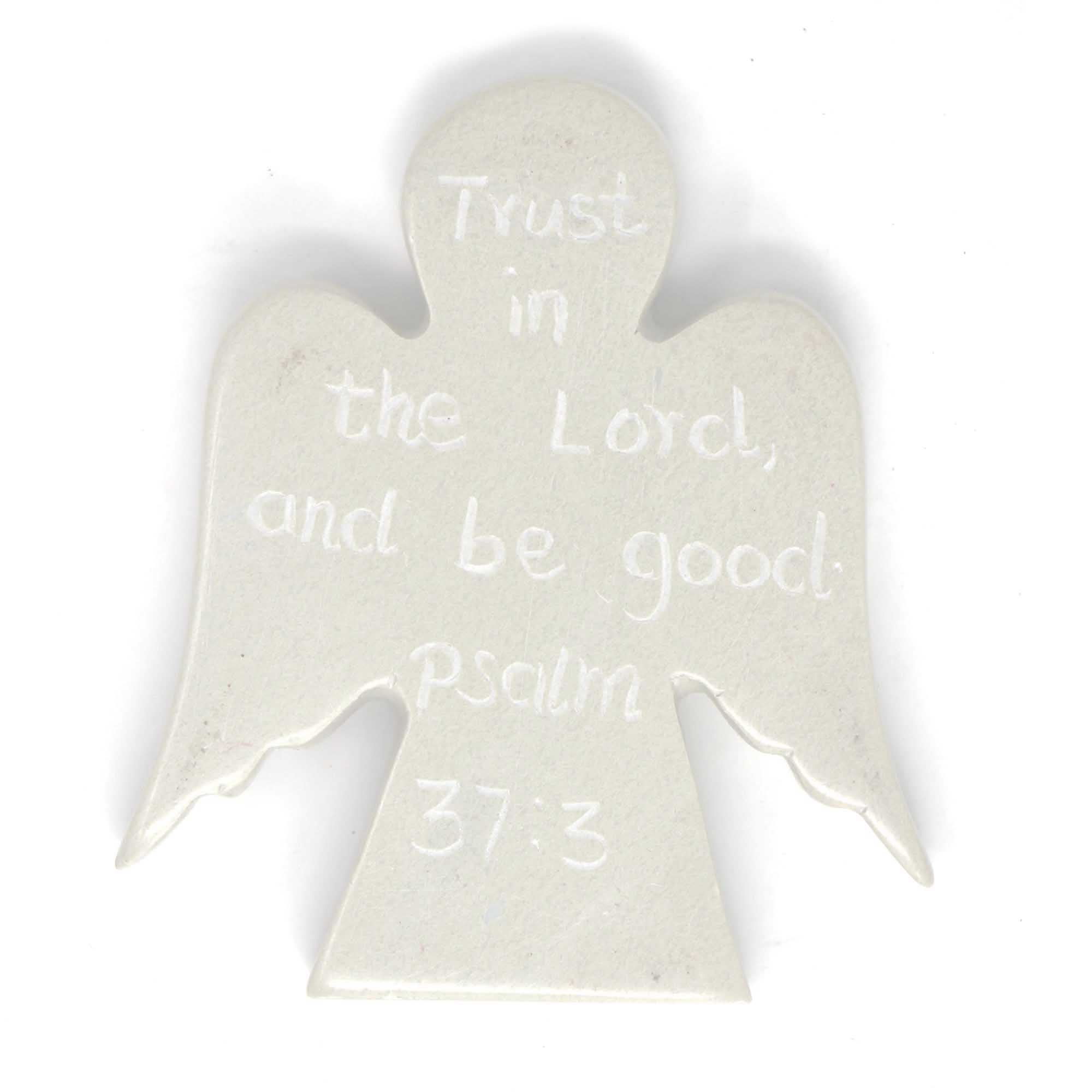 Angel Token with Psalm Inscription: Psalm 37:3