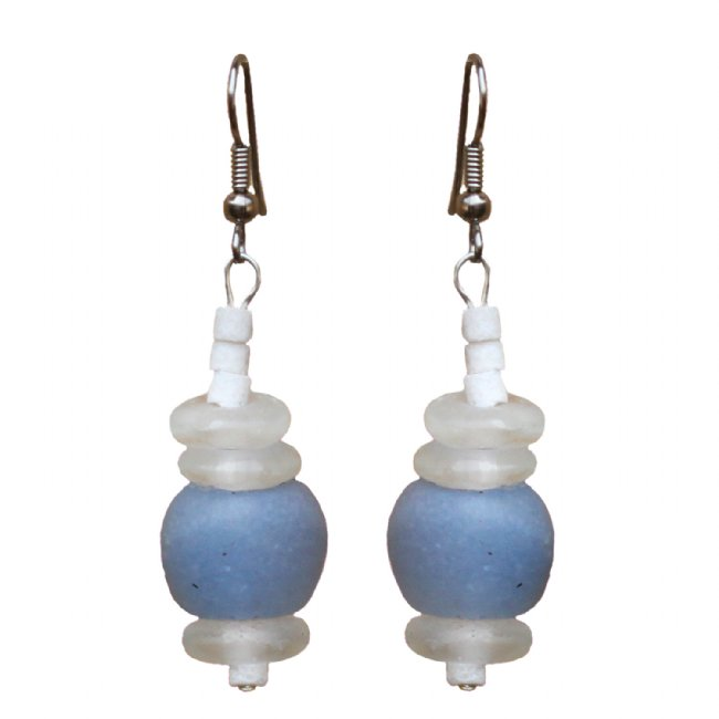Recycled Blue Glass Abacus Earrings
