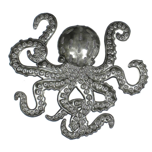 "Octopus Nautical Haitian Metal Drum Wall Art (14"" x 16"")"