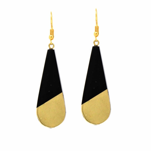 Brass & Black Horn Teardrop Earrings - Pack of 3