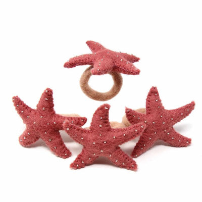 Hand Crafted Felt from Nepal: Set of 4 Napkin Rings, Starfish, Rose Quartz