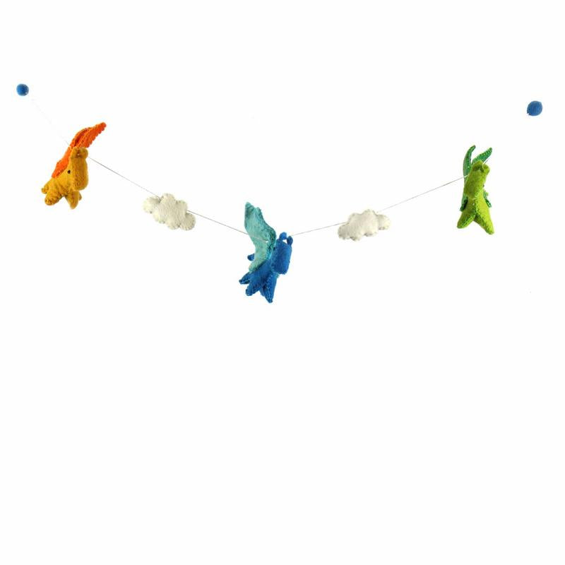 Dragon Felt Garland Kids' Room Décor, Bright Colors