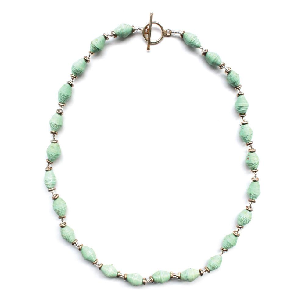 Single Strand Magazine Bead Necklace Seafoam