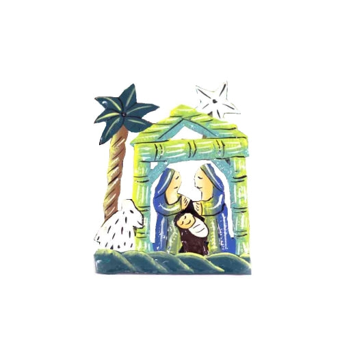 Small Hand-painted Tabletop Nativity with Palm Tree - Assorted colors, sold individually