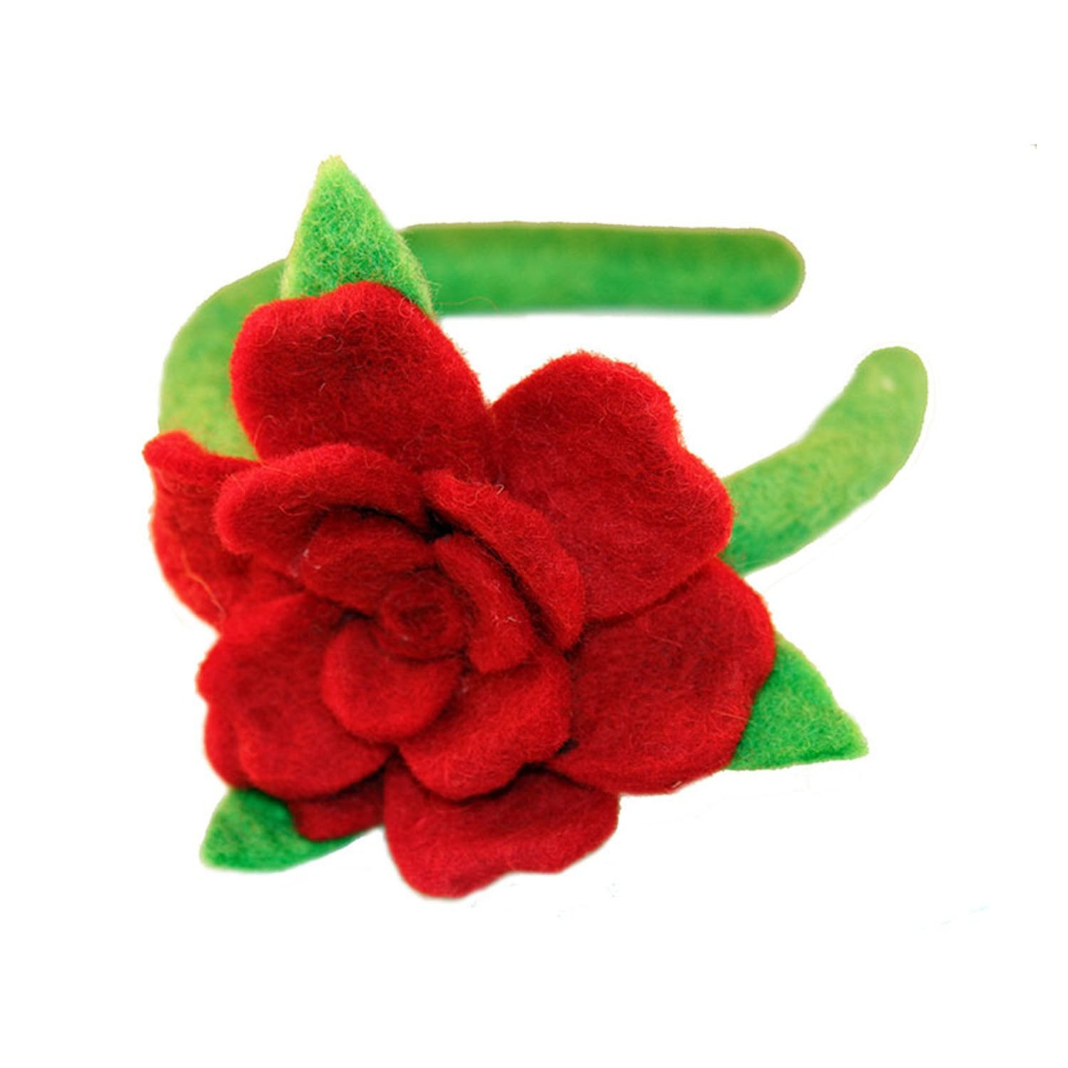 Hand Crafted Felt from Nepal: Headband, Red Rose