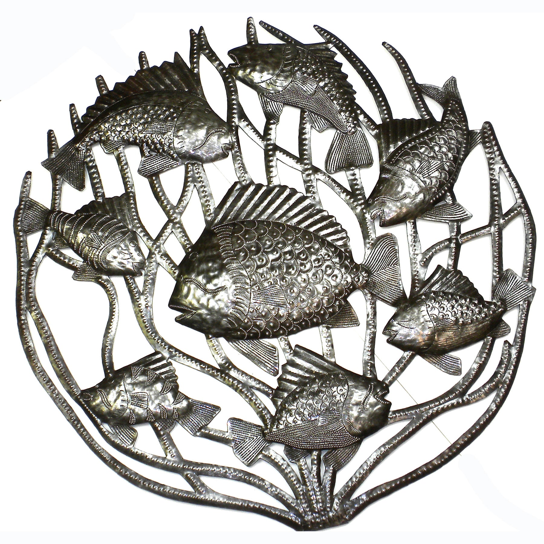 CLEARANCE Fish in Coral Nautical Haitian Metal Drum Wall Art, 24""