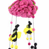 Pink Bumble Bee Felt Nursery Mobile