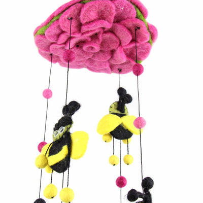 Hand Crafted Felt from Nepal: Mobile, Pink Bumble Bee