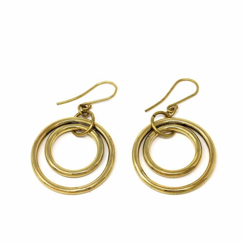 Brass Nested Circles Earrings