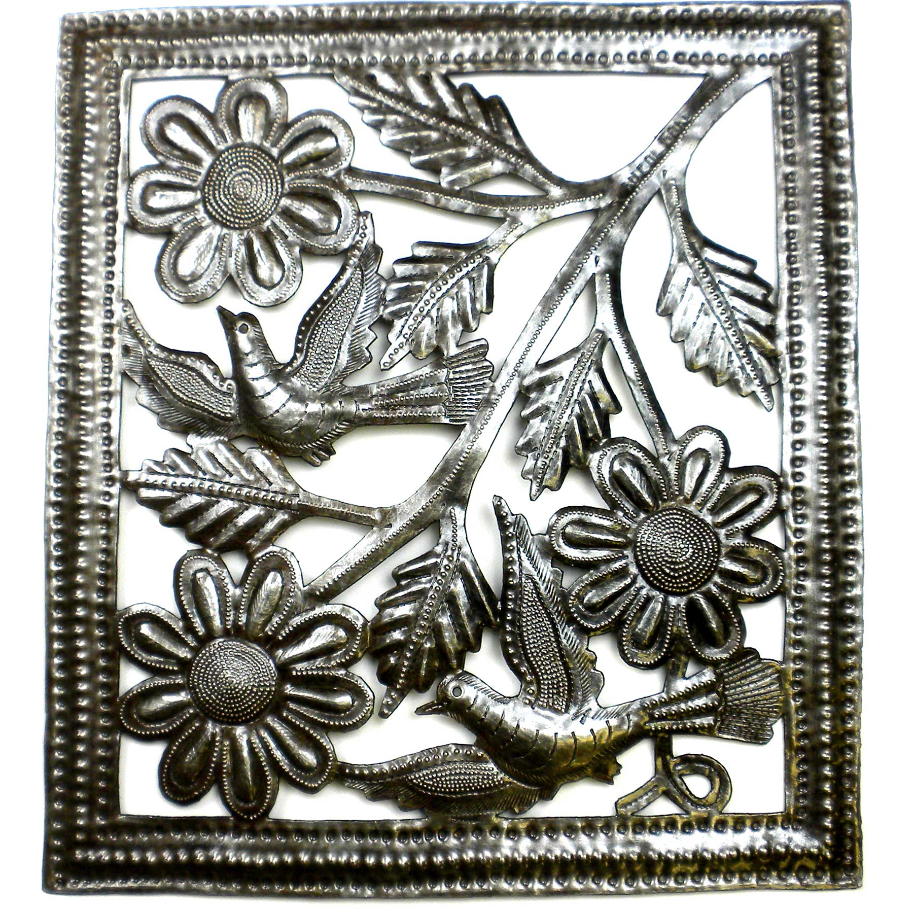 Flower and Birds Metal Art -11 by 12 Inches