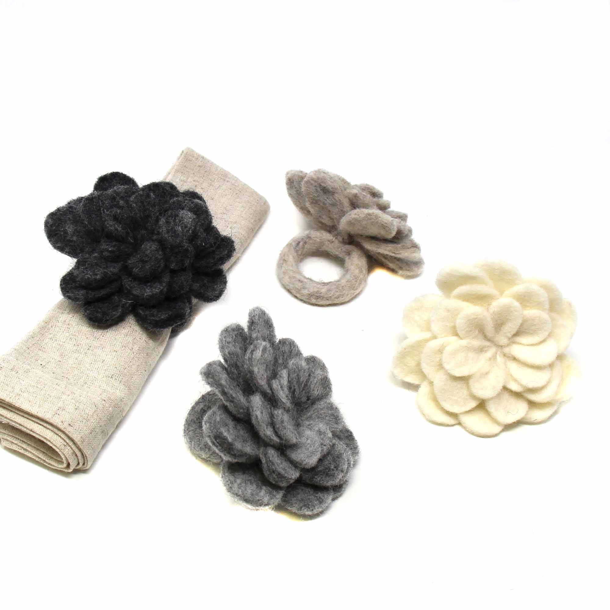 Hand Crafted Felt: Set of 4 Napkin Rings, Assorted Neutral Color Zinnias