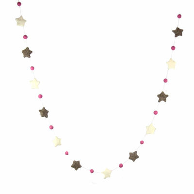 Hand Crafted Felt from Nepal: Stars Garland, Grey/Pink