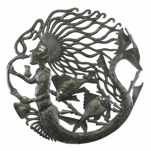 CLEARANCE Musical Mermaid Facing Right Haitian Metal Drum Wall Art , 24""