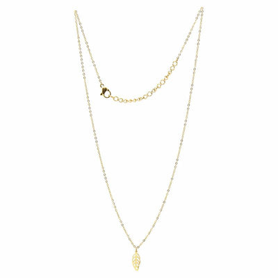 Necklace: 14k Gold Plated Leaf Pendant with Chain