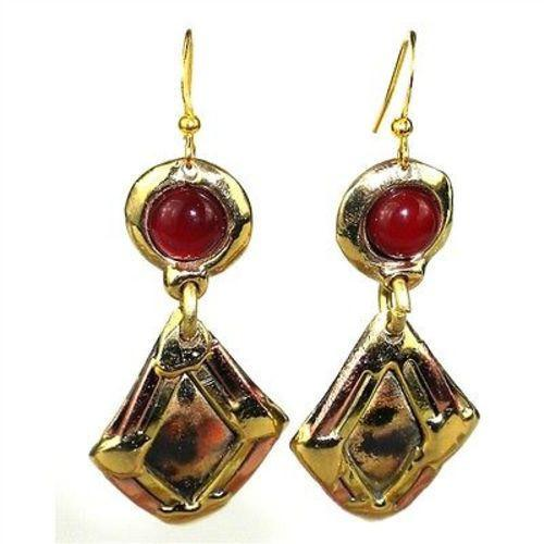 Carnelian Diamond Brass Earrings