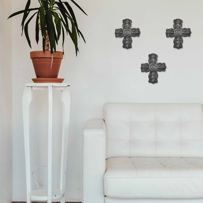Metal Cross Wall Art with Flower Center - 8.5in x 10in