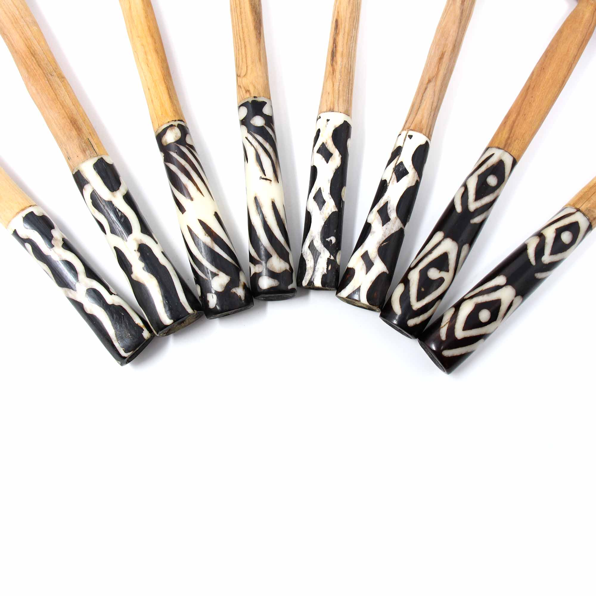 Olive Wood Serving Set with Batik Bone Handles, Assorted Designs