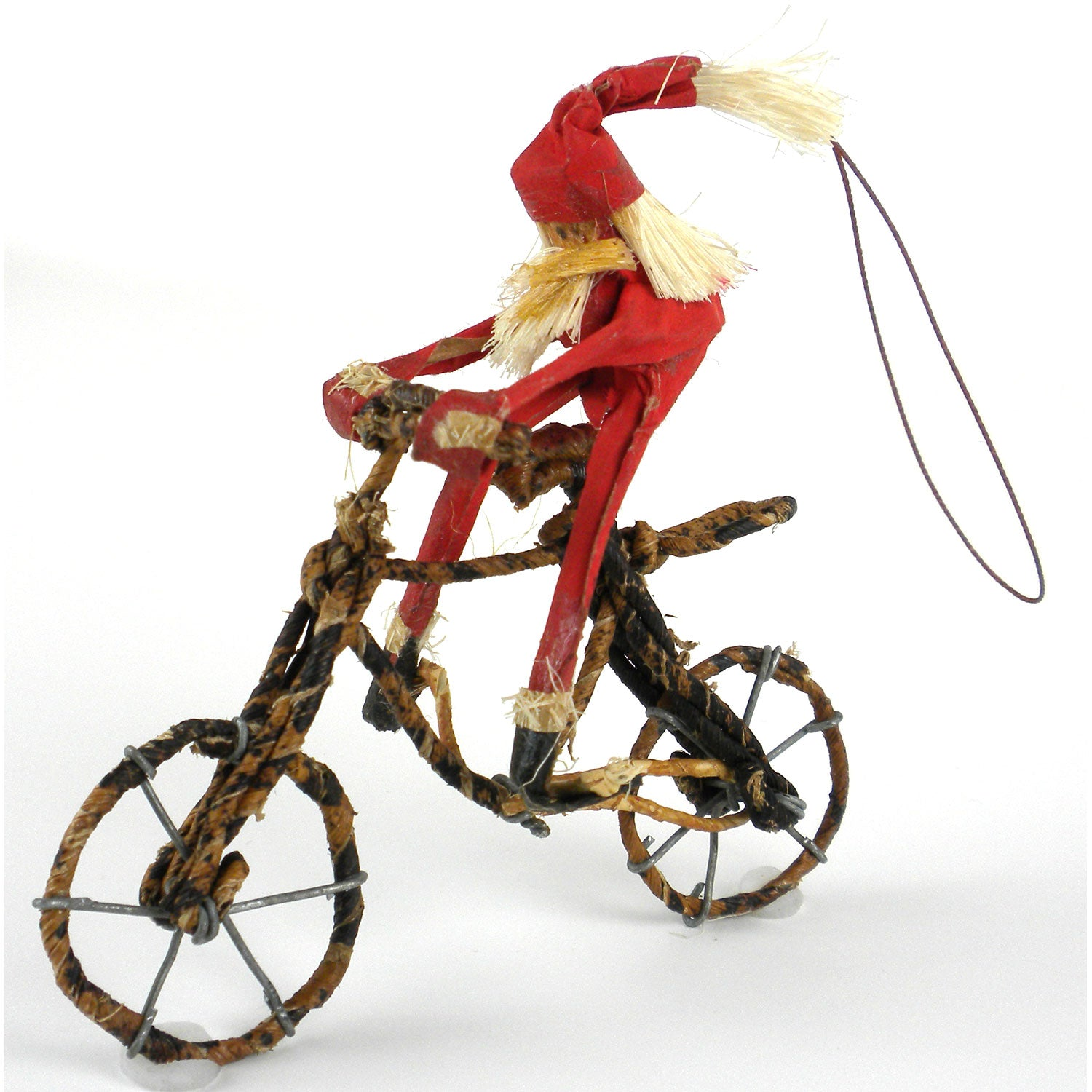 Banana Fiber Santa on a Bicycle Ornament