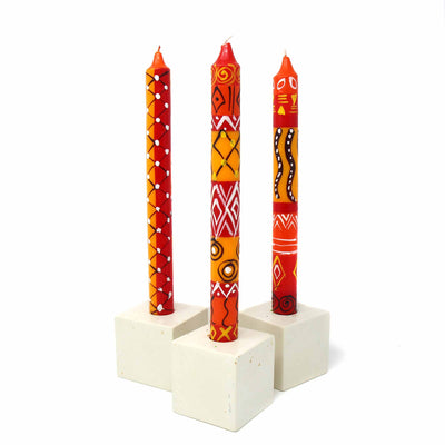 Hand-Painted Dinner Candles, Boxed Set of 3 (Zahabu Design)