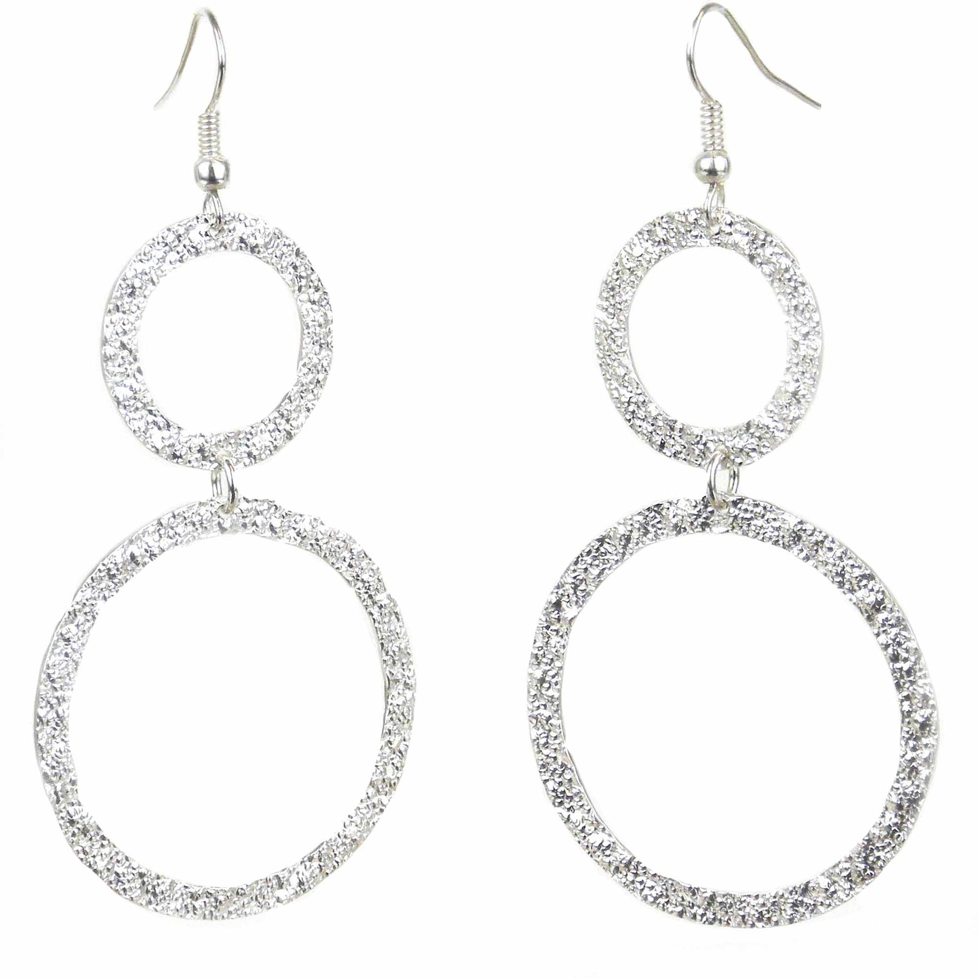 Large Silver-plated 2 Circle Earrings