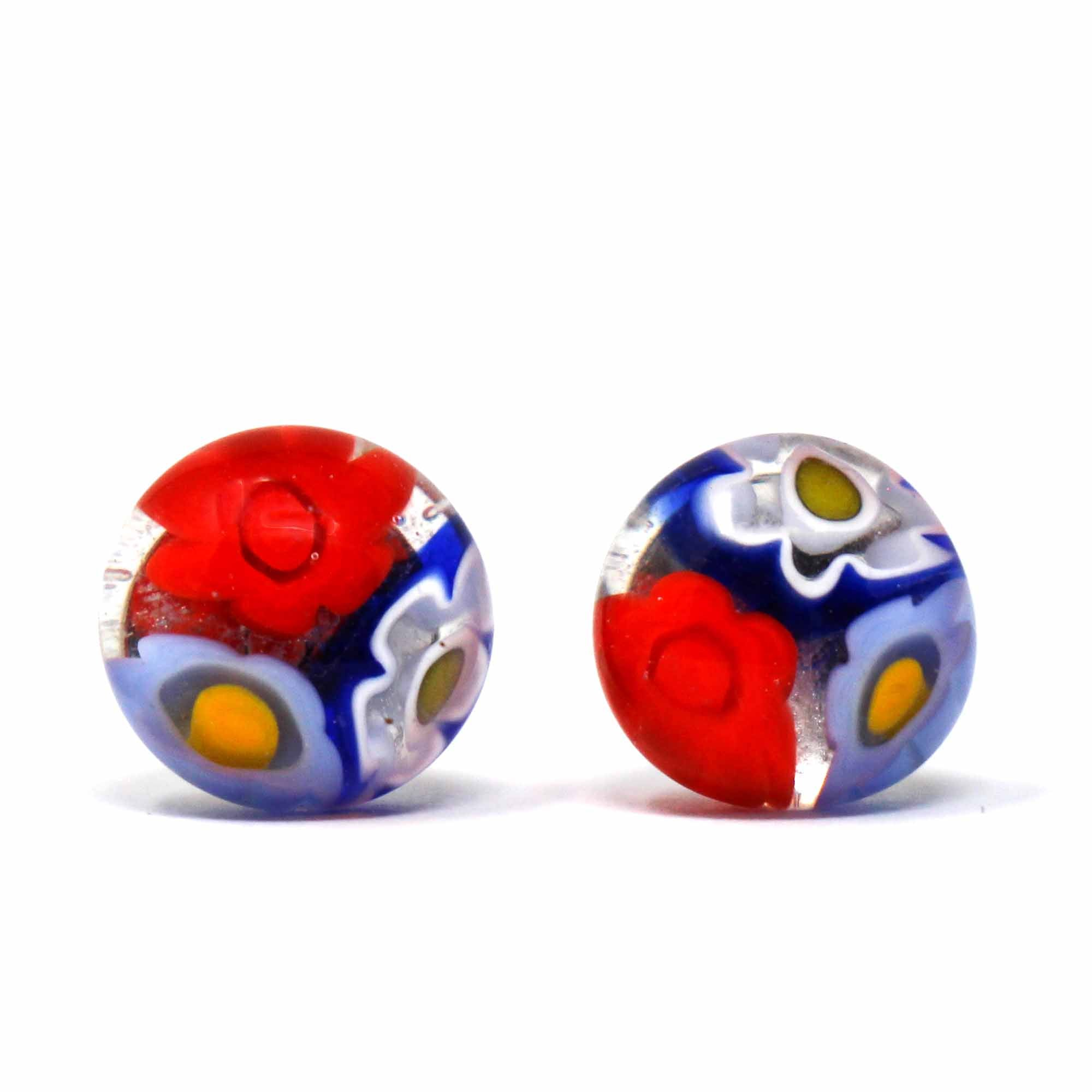 Round Glass Stud Earrings, Red and Blue Flowers - Pack of 3
