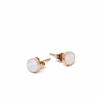 Rose Gold and Mother of Pearl Stud Earrings