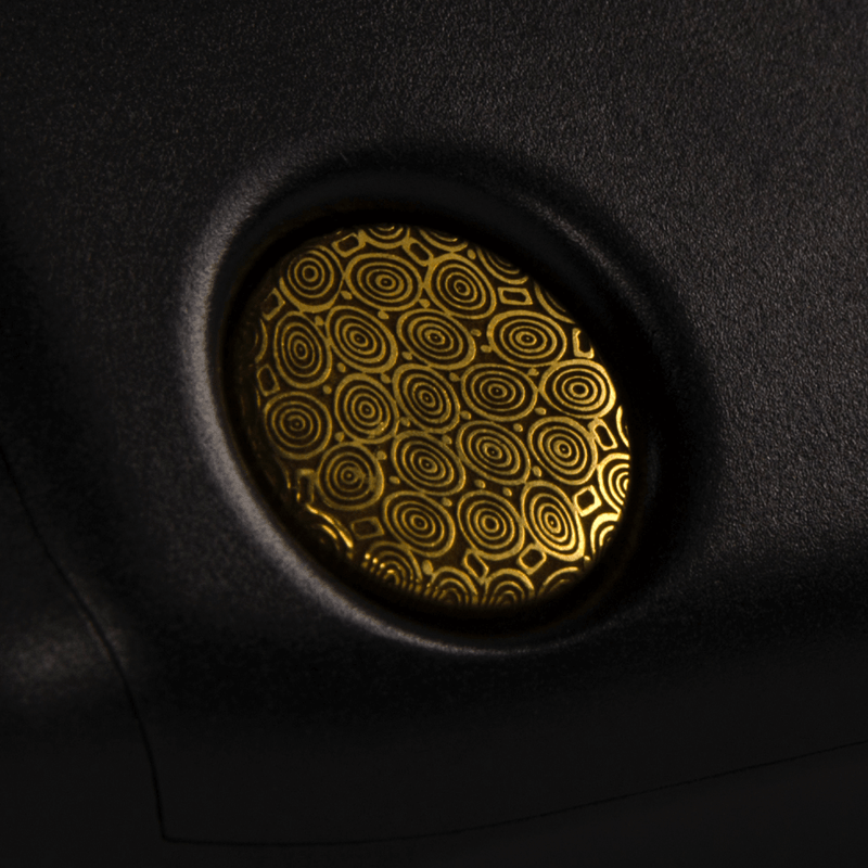 Gold Damasteel Button For Tiny Volcano Squonk Mod