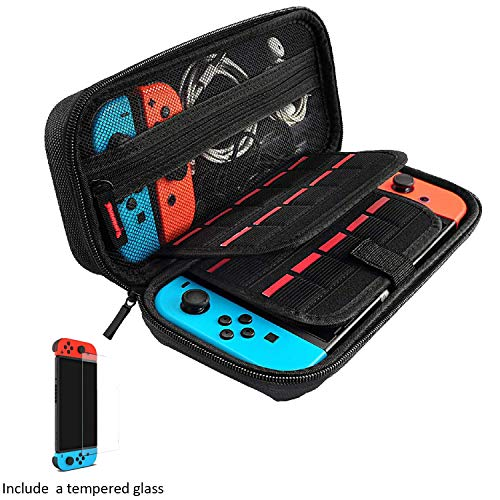 Carrying Case for Nintendo Switch - 20 Game Cartridges Protective Hard Shell Travel Carrying Case Pouch for Nintendo Switch Console & Accessories,with Screen Protector (Black) - Name Your Joy