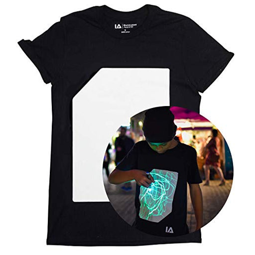 Interactive Glow In The Dark T-shirt Black | Illuminated Apparel | Glow Party | Rave | Festival | EDM EDC (XX Large) - Name Your Joy