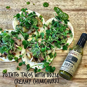 Potato tacos with DD214 Creamy Chimichurri
