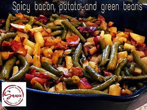 Spicy bacon, potato and green beans