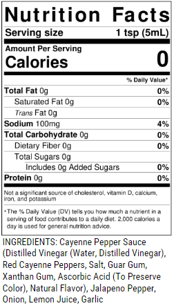 Red Hot Griff Nutrition Facts & Ingredients