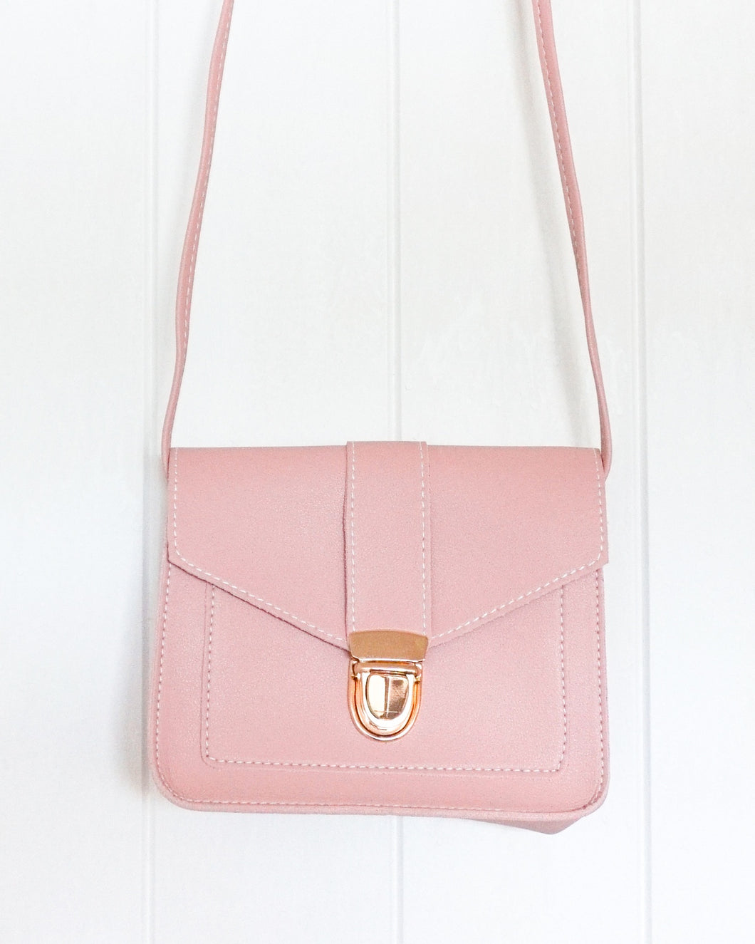 Bag- Leather Look Bag Rectangle - Blush