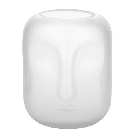 Face Glass Vase 17x20cm Frosted White