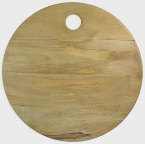 ROUND MANGO WOOD BOARD W/HOLE