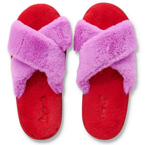 Pink & Red Fluffy Slippers