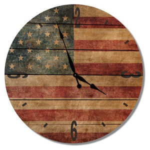 Rustic Flag Outdoor Wall Clock