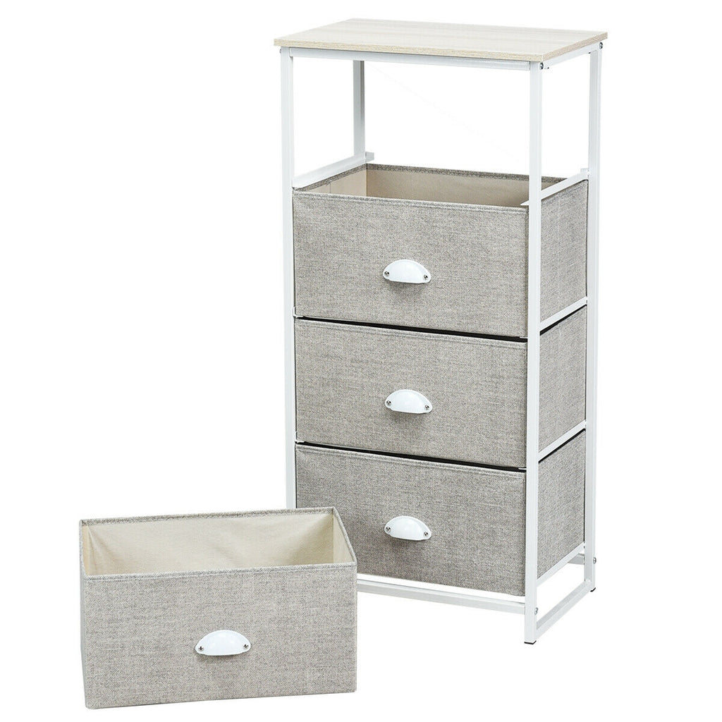 Chest Storage Tower Side Table Display Storage with 4 Drawers-Gray