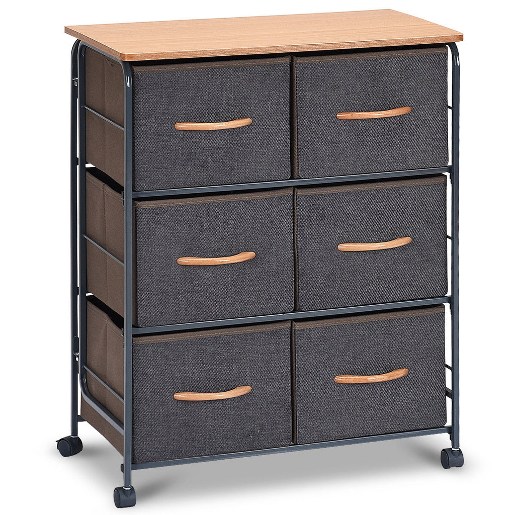 6-Drawer Fabric Display Dresser Storage Cabinet with Wheels