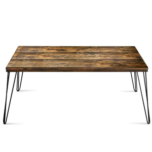 Rustic Industrial Solid Wood Rectangular Cocktail Coffee Table