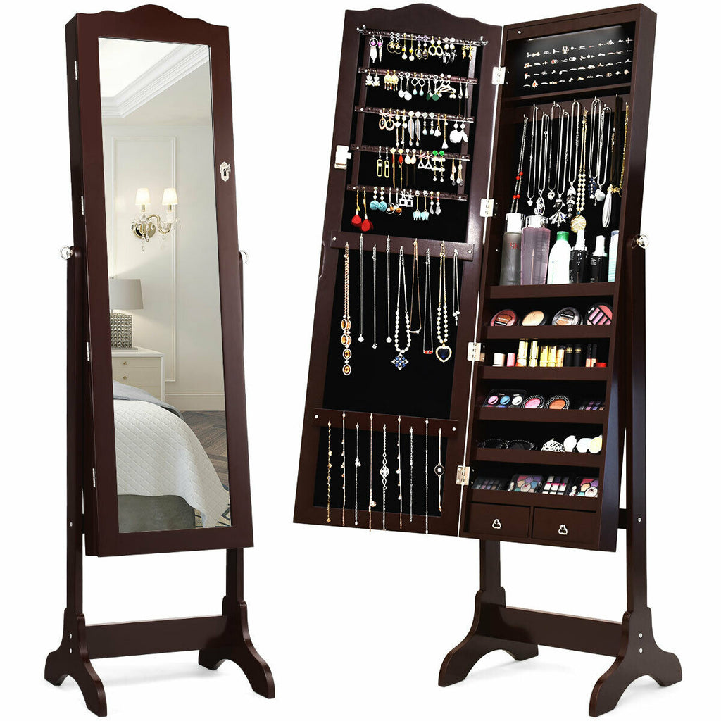 Mirrored Jewelry Cabinet Storage with Drawer and Led Lights-Coffee