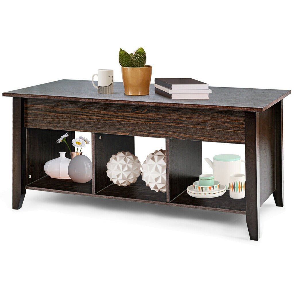 Lift Top Coffee Table with Hidden Compartment Storage Shelf