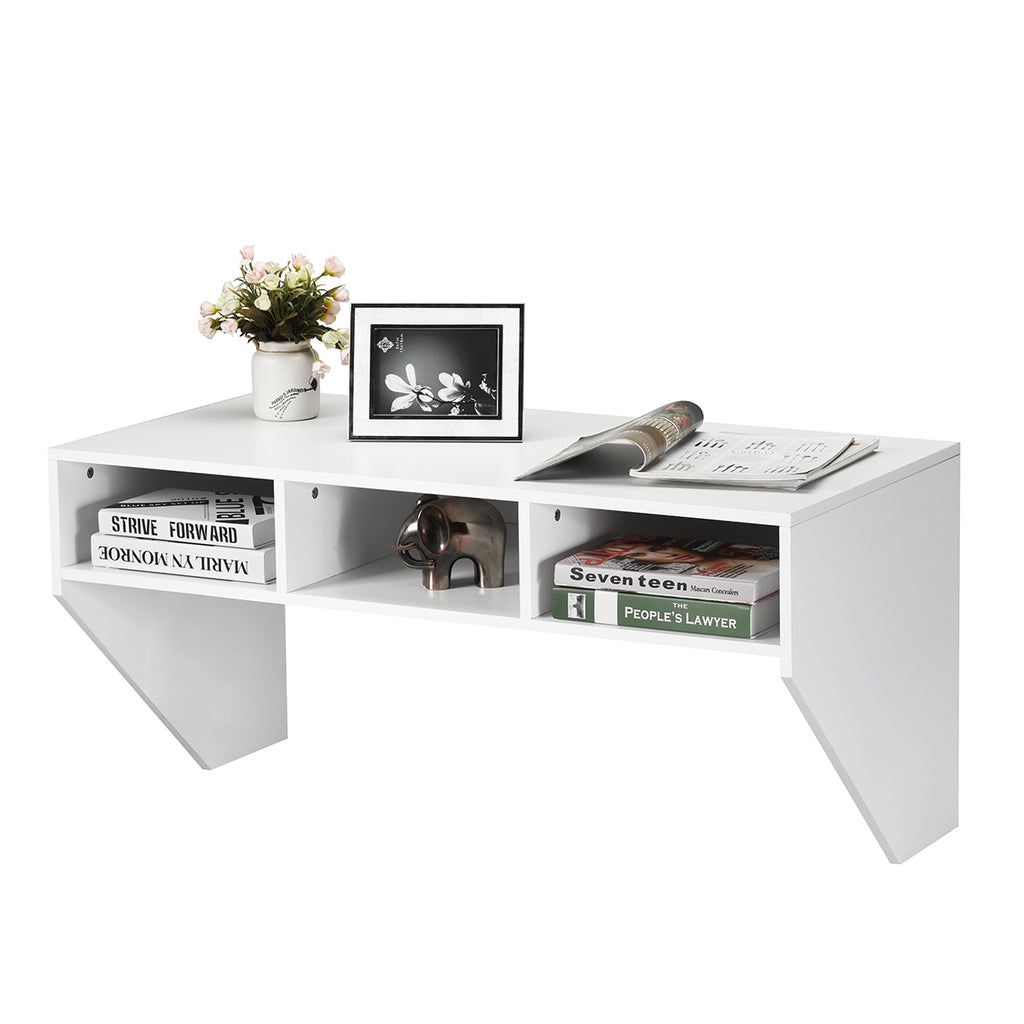 Wall Mounted Floating Computer Table Desk Storage Shelf-White