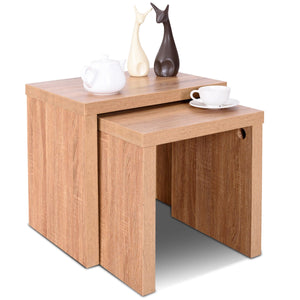 Set of 2 Nesting Wooden Coffee End Table Side Table