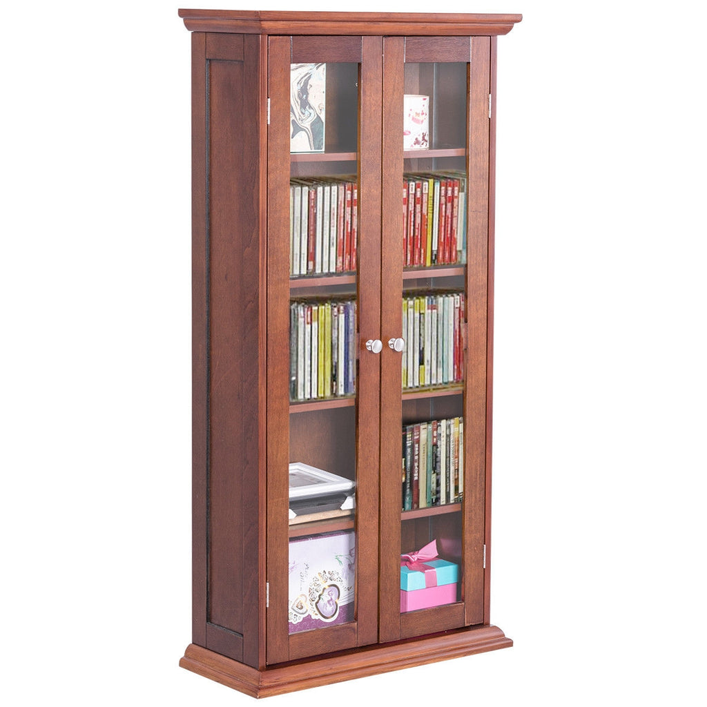 Wood Media Storage Cabinet CD Shelves with Tower Glass Doors