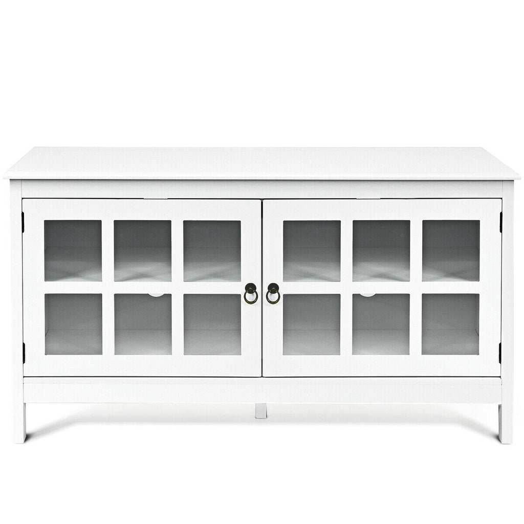 "50"" TV Stand Modern Wood Storage Console with 2 Doors-White"