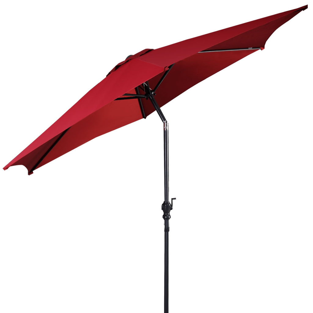 9FT Patio Umbrella Patio Market Steel Tilt W/ Crank Outdoor Yard Garden-Burgundy