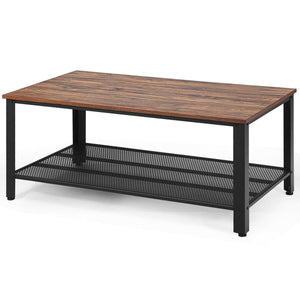 Metal Frame Wood Coffee Table Console Table with Storage Shelf-Brown