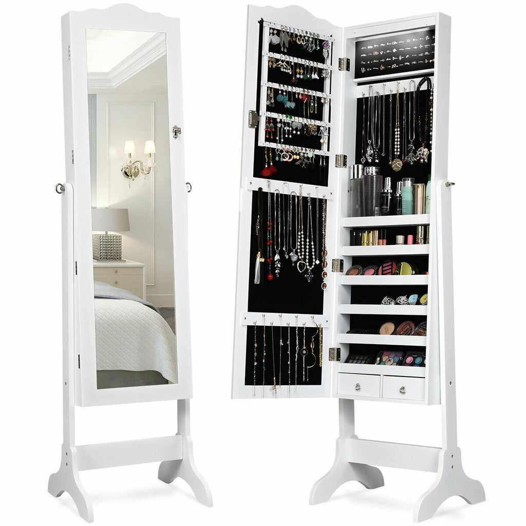 Mirrored Jewelry Cabinet Storage with Drawer and Led Lights-White